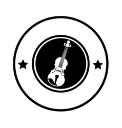 silhouette circular border with acoustic guitar vector image