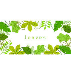 Natural banner with stylized green leaves spring vector