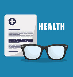 Health report medical glasses vector