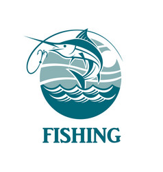 swordfish fishing emblem vector image