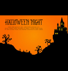 Halloween with haunted castle landscape vector