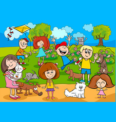 Cartoon kids with pets in the park vector
