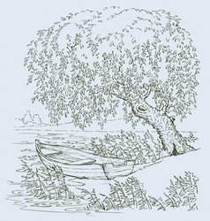 boat on lake under willow vector image