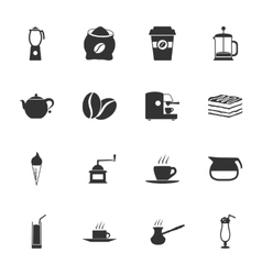Coffe black and white flat icons set vector