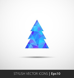 Polygon christmas tree icon vector