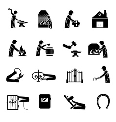Blacksmith icons black vector
