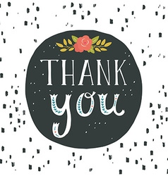 Thank you Greeting card with hand lettering and vector image