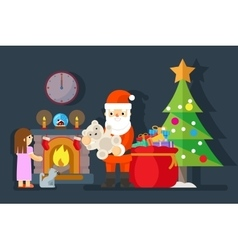Santa gives gift to little girl near fireplace vector