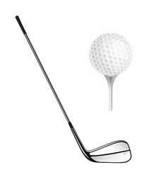Golf ball and golf stick isolated on the white vector