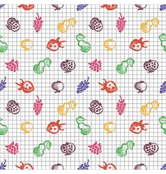 Seamless fruits pattern bg with strawberries vector