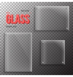 Set of Realistic Glass Plate Template vector image