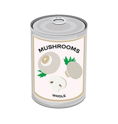 Mushrooms canned food vector