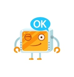 Agreeing Little Robot Character vector image