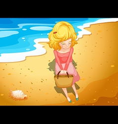 A young lady at the beach vector image vector image