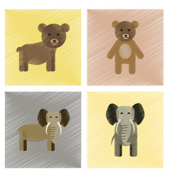 Assembly flat shading style icons bear elephant vector