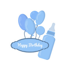 Blue bottle with slots and label on white vector