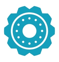 Blue gear wheel engine cog icon vector
