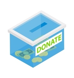 Box with donations isometric 3d icon vector
