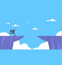 businessman jumping over mountain gap business vector image vector image