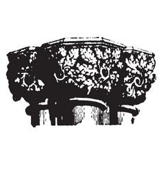 Capital carved vintage engraving vector