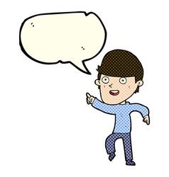 Cartoon happy man with speech bubble vector
