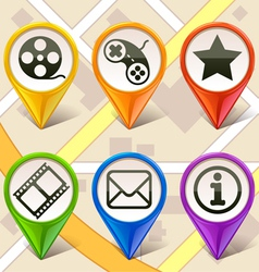 colorful map markers-set 1 vector image