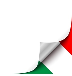 Curled up paper corner on hungarian flag vector