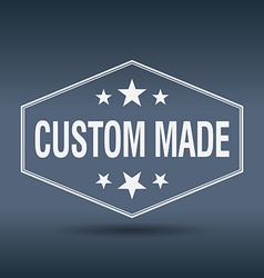 Custom made hexagonal white vintage retro style vector