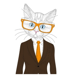 cute cat boy in elegant suit with glasses Hand vector image vector image