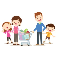 Cute family shopping at market together vector image