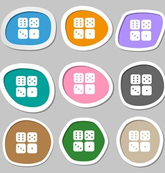 Dices icon symbols multicolored paper stickers vector