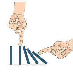 domino effect hand pushing the domino vector image