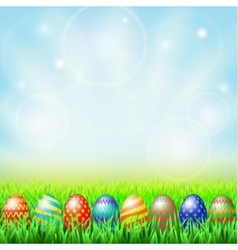Easter eggs green sunny meadow vector image vector image