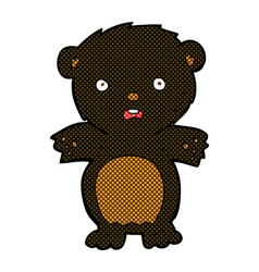 Frightened black bear comic cartoon vector