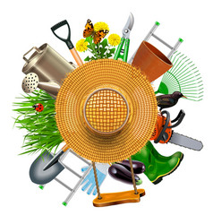 garden concept with hat vector image vector image