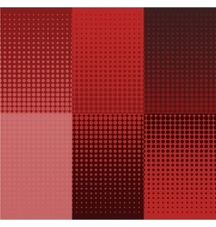 Grunge red halftone banners set dot vector