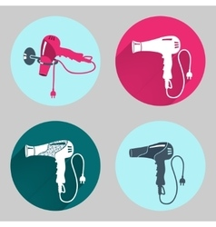 Hair-drier set Professional blow hairdryer with vector image vector image