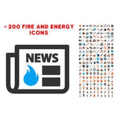 Hot news icon with bonus energy collection vector