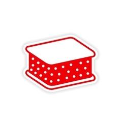 Icon sticker realistic design on paper ice cream vector