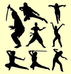 martial art using sword silhouette vector image vector image
