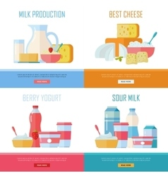 Milk production cheese berry yogurt sour cream vector