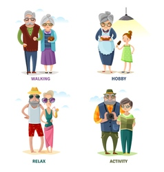 Old people cartoon collection vector