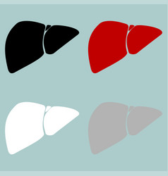 red black grey white liver hepar icon vector image vector image