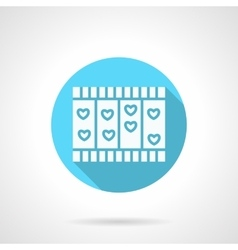 Round blue love story flat icon vector