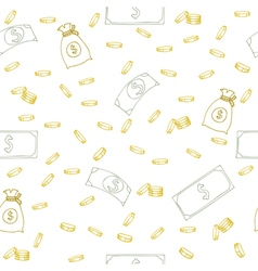 Seamless pattern with money Hand sketched coins vector image