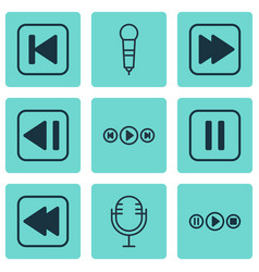 Set of 9 music icons includes rewind back audio vector