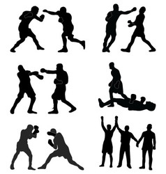 silhouettes of boxers vector image