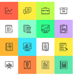 simple business and finance cartoon style icon set vector image vector image