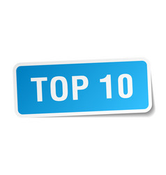 Top 10 blue square sticker isolated on white vector