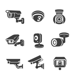 Video surveillance security cameras graphic icon vector